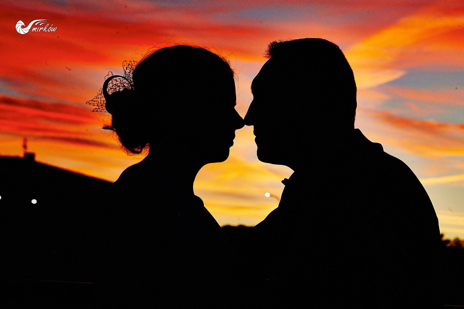 Plener ślubny videomirków zachód słońca